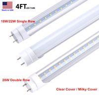 T8 T10 T12 4FT LED 튜브 라이트, 18W 22W 28W, 6000K 5000K, 4 피트 형광등 교체, 듀얼 종료 전원, 안정기 바이 패스, LED 샵 램프 전구