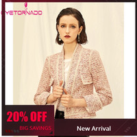 Perle Perline Pink Wool Tweed Jacket Donna Autunno maniche lunghe Tasche Work Wear Giacca di lana da ufficio Slim Short Tweed Blazer Coat