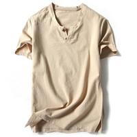 Бренд мужские рубашки с коротким рукавом хлопок льняные повседневные рубашки мужской белый тройник мужские топы Harajuku Solid мужская одежда