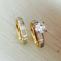316L Titanium Steel CZ Diamant Koreanische Paar Ringe Set für Männer Frauen Verlobungsliebhaber, sein und ihr Versprechen, 2 Ton Gold Silber