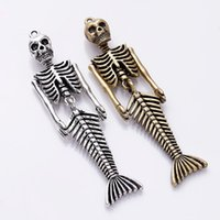 10pcs liga Mermaid humanos Encantos de esqueleto antigas encantos de prata de bronze pendente para colar Jóias Fazendo descobertas 18x74mm