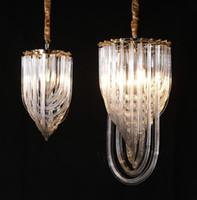 Новая мода роскошь свет люстра американский ресторан вел подвесной светильник Северное золото металл e14 держатель художественное стекло трубки люстры LLFA