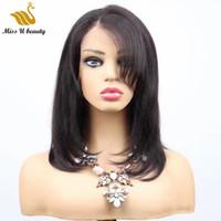 밥 가발 사이드 부분 스트레이트 13x6 프론트 레이스 버진 인간의 머리 가발 흑인 여성용