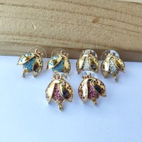 Ladybug insetti forma Orecchini Messaggio con ciclo del gancio CZ Micro asfaltata per i monili di DIY orecchino delle donne di risultati ER1034