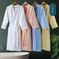 Hotel a 5 stelle Accappatoio knee-lunghezza Estate Robe 100% Cotton Waffle accappatoio Plus Size Kimono Uomo Sleepwear Donne Accappatoio