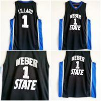 Herren Vintage Weber State Wildcats Damian Lillard College Basketball-Trikots billig schwarz # 1 Damian Lillard genäht Hemden S-XXL