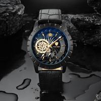 2019 TEVISE Mens Automatic relógios mecânicos auto-Vento relógio preto de couro Moon Phase Tourbillon Negócios Luminosos Relógios de pulso