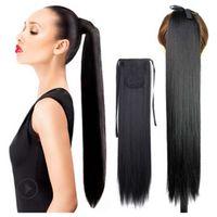 İpli At Kuyruğu Hairpieces Sentetik Klip Düz 22 inç 100g Sentetik Klip Sarma At kuyruğu Daha Fazla Renk D13