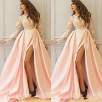 레이스 아플리케 2020 가을 겨울에 최고 정장 이브닝 가운을 통해 판매 사우디 아랍어 높은 분할 댄스 파티 드레스 긴 소매 라이트 핑크 참조