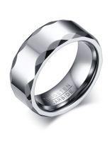 Grabado gratuito de 8 mm de alto anillo de boda para hombre de carburo de tungsteno pulido con borde facetado K3749