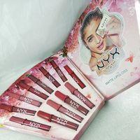Yeni Makyaj NYX mat dudak parlatıcısı nyx Rujlar 12pcs seti 12 renk Dudak Sıvı ruj Kozmetik hediye Su geçirmez Noel droppshipping