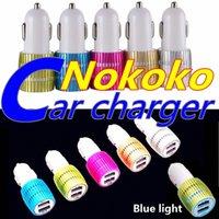 Billaddare Dual USB Nokoko Metal 2 Portar Blue LED Light 2.1a Billaddare Adapter för Samsung Huawei Android Phone GPS MP3