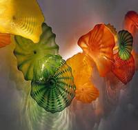 Элегантные художественные лампы Murano лампы декор тарелки 100% ручной вручную стеклянные огни цветы настенный светильник для дома украшения отеля
