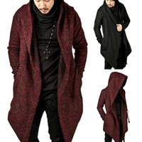 Uomo Casual Hooded Trench Autunno Inverno Abbigliamento manica lunga Cardigan a maglia di trincea sottile solido del cappotto soprabito Streetwear maschio del cappotto