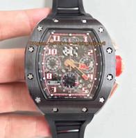 8 스타일 Topselling 최고의 품질 50mm x 40mm RM 011 RM011 플라이 백 크로노 그래프 워킹 탑 CAL.7750 무브먼트 자동 망 시계 시계