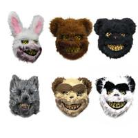 Nueva conejito Cabeza de animal Máscara broma mal conejo sangriento asustadizo del horror Máscara de PVC de juguete de felpa Killer Anónimo blanca máscara para adultos de los niños