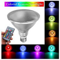 E27 PAR38 LED 스포트 라이트 디 밍이 가능한 RGB 전구 마술 무대 조명 10W 20W 색상 원격 제어 전구 램프 야외 홍수 라이트 변경