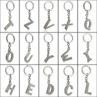 전체 라인 석 키 체인 편지 열쇠 고리 A-Z 합금 알파벳 문자 블링 열쇠 고리 크리스탈 열쇠 고리 실버 컬러 패션 쥬얼리 액세서리