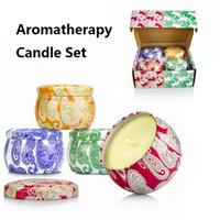 Boda de Navidad 4pcs vela de aromaterapia / set Envase del estaño cera de soja sin humo perfumado velas hechas a mano velas de cera Decoración
