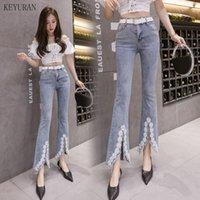 Feminino jeans mulher 2021 feminino verão bordado beading alta cintura magro flare mulheres tornozelo comprimento cowboy tassel denim calças