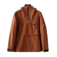 Новые с капюшоном наполовину на молнии карманные куртки молодости мода европейские и американские большие размеры повседневная куртка мужская пальто ткань мужская ножна дождевая вода против всплеск
