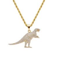 хип-хоп из нержавеющей стали динозавр ожерелья для кубинских цепей мужчину роскошных ожерелий из нержавеющей стали собаки бирок ювелирных изделий
