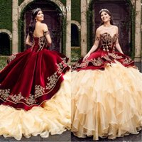 2020 Vintage Sweetheart Burgundy Ball Gown Quinceanera Dresses With Embroidery Tiered Skirts Lace Up Sweet 16 Dress
