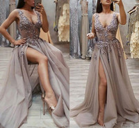 Abiti da sera in rilievo di lusso di cristallo 2019 Brown Sexy Split fata Tulle Prom Gown Vestidos de fiesta largos