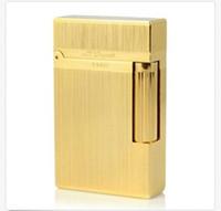 Accendino S.T Ligne 2 classico metallo spazzolato Ping Sound Flame Lighter Gold