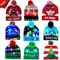 2020 HOT vendre 10 Designs LED Chapeaux de Noël Bonnet de Noël Chapeau de Père Noël chandail Light Up Bonnet pour enfant adulte pour Noël