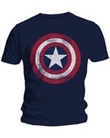2019 Fashion Men T- Shirts Captain America Distressed Shield ...