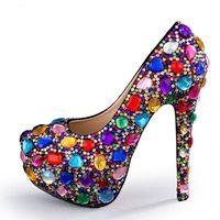 Sıcak Sale-2018 Yeni Yüksek Topuk Kristal Süslenmiş Platformu Ayakkabı Pompalar Kadın Gökkuşağı Düğün Topuklu Seksi Rhinestones Topuklu Ayakkabı