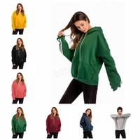 여성 배트 윙 슬리브 후드 후드 스웨터 스포츠 야외 가을 겨울 솔리드 풀오버 옷 포켓 코트 LJJA2898