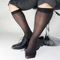 Twill مخطط شبكة النايلون الجوارب الحرير للرجال الأعمال لينة شير خفيفة الوزن اللباس الرسمي البدلة الركبة طول الجوارب الطويلة