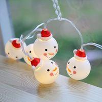 Fadas natal novos 10/20 LED Forma boneco de neve bonito de fadas Árvore Luz Cordas Lâmpada do Natal Pingente partido Quintal Gota Ornament Decor