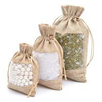 Органза джутовые сумки мешковины шнурок сумка 10x14/13x18/16x22cm свадьба выступает подарочные пакеты для конфеты макияж ювелирные изделия упаковка