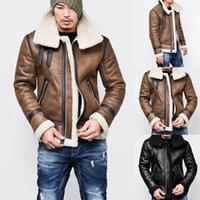 가을 겨울 남자 가짜 가죽 자켓 두꺼운 턴 다운 넥 따뜻한 모피 라이너 옷깃 지퍼 outwear 탑 코트 Deri Mont Erkek