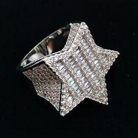 18K White Gold Mens nuovo Bling Cubic Zirconia Hip Hop Pentagram regali gioielli anello di ragazzi del diamante pieno fuori ghiacciato Rapper per Boyfriend