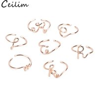 2019 Fashion 26 Letters A- Z Cocktail Silver Ring For Women R...