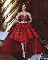 2020 Abiti Sweetheart Rosso Nuovo Hi-Lo paillettes Prom Backless Tiered Tulle pieghe eleganti abiti da sera Abiti formali vestidos