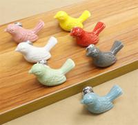 Керамический Мир Dove Выдвижных Knobs 3D Мультфильм птицы Кабинет Тумба Ручки Новых Творческие моды Ручка для мебели Оборудования