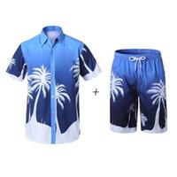 Yaz Eşofman Erkek Nedensel Plaj Kısa Kollu Şort Sweat Suits + Pantolon Hızlı Kuru Eşofman Erkek Spor-Suits Spor Takımları