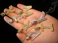 A- Z Iced Out Baguette Letters Pendant Necklace Gold Silver B...