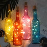 2M 20LED lampada a forma di sughero del tappo della bottiglia di vetro chiaro 1M LED del vino Copper Wire luci della stringa per Natale festa di nozze di Halloween