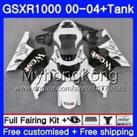 + Tank för SUZUKI GSX R1000 GSXR1000 2000 2001 2002 2003 2004 White West Hot 299HM.33 GSXR-1000 K2 GSX-R1000 K3 GSXR 1000 01 02 03 04 FAIRING