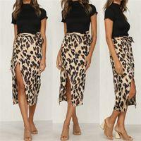 التنانير EST المرأة الشيفون ليوبارد طباعة ماكسي تنورة السيدات عالية مخصر الصيف طويل الأزياء المرأة