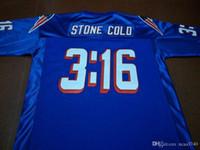 Özel Erkekler Stone Cold Steve Austin # 03:16 Takım Çıkarılmış mavi Beyaz Koleji Jersey boyutu s-4XL veya özel herhangi bir ad veya numara forması