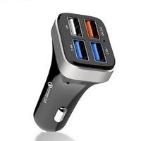 새로운 자동차 충전 qc3.0 자동차 충전기 4 포트 USB 자동차 USB 충전 휴대 전화 빠른 QC3 0 자동차 충전기