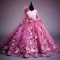 Robe de fille de fleur à manches longues Fuchsia 3D fleurs princesse robe de fête de fête de luxe robe de boule de luxe pour robes de pageant de fille de mariage formelle
