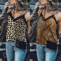 Женские леопардовый принт кружева выдалбливают OutSleeveless ремешками V шеи Майки лето Сексуальная V-образным вырезом кружева блузка футболка топы